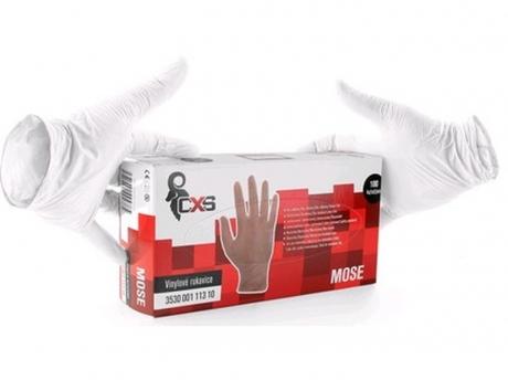 Jednorázové vinylové a jemné púdrové rukavice