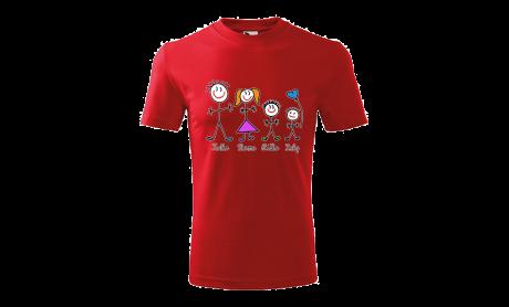 Tričko Vianočné postavičky červené unisex